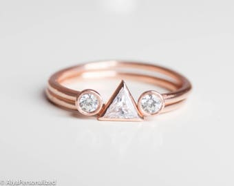 trillion cut diamond engagement ring modern wedding ring set diamond wedding band diamond - Contemporary Wedding Rings