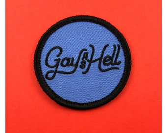 """Gay as Hell 2"""" adhesive back Patch LGBT Gay feminist patch Queer feminism drag Lesbian patch Gay Girls Pride Patch gay patch sticky back"""