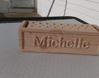 desk accessory , Personalized and carved wooden block Pencil organizer caddy (personalized pencil organizer (pencil_H26b2_carv-b)