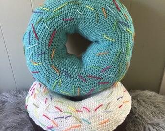giant crochet donut pillow, donut pillow, crochet donut, amigurumi donut pillow