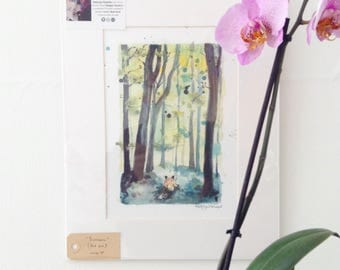 Fox Trot in the Woods - Signed Print