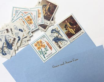 5 sets unused vintage postage stamps // Harmony in Blue and Gold // 1963-1998 // 50 cents