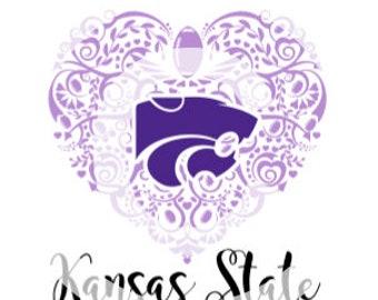 Football (Kansas State) Ornate Heart SVG File