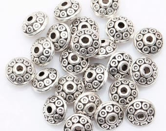 100pcs Antique Silver tone Spacer Beads  6mm