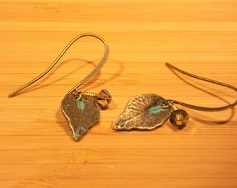 Antique Brass Leaf Shaped Earrings with Crystal Accent