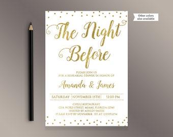 Rehearsal Dinner invitations, The Night Before, Gold confetti Wedding Rehearsal Dinner invite, Wedding invite, Digital Printable Invitations