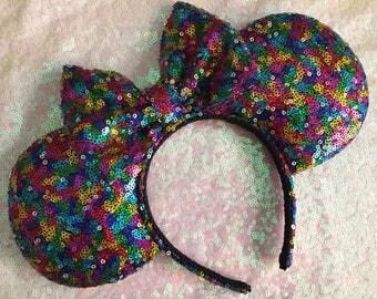 Rainbow sequins ears, Rainbow, Multicolored, sequins