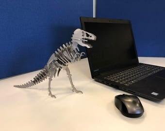 T-Rex Stainless Steel Dinosaur, desk sculpture, geek, Christmas gift, office, gift for him, dinosaur gift, boyfriend, valentines gift