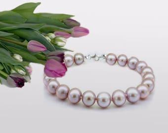 Lavender Pearl Bracelet, AAA Pearls, Wedding Jewelry, Purple Freshwater Pearls, modern pearl jewelry,  Wedding Bracelet,  Bridal Bracelet