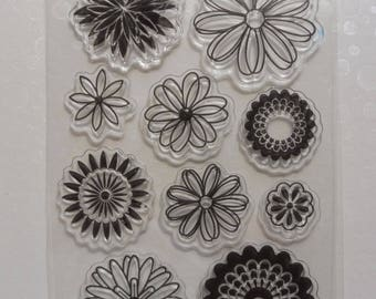 Clear stamps flowers 10 piece set