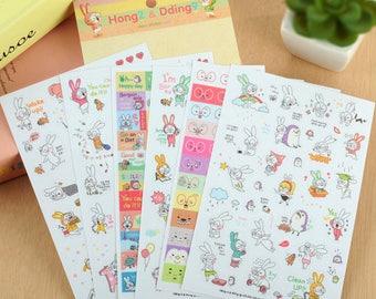 "Stickers 6 sheets set ""Sticker rabbit diary"""