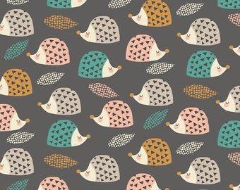 Cotton fabric - Dashwood Studio - gray hedgehogs - Harvestwood by 50cm (110 x)