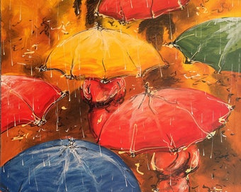 50 Shades of Monsoon, Indonesian Artwork,Mixed Media,Streatched Canvas Giclee of Traditional Oil on Canvas Balinese Painting; Ready to Hang!