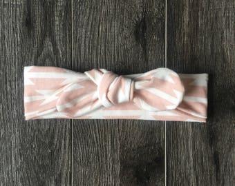 6-12 month topknot headband {blush aztec}