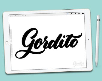 Procreate Brush, Gordito, Fat Procreate Brush, brush lettering, Procreate Brushes, Procreate Brush, Serif and sans serif, Single Brush