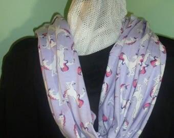 Unicorn infinity scarf - 72 inch length, purple infinity scarf, white unicorn infinity, double loop infinity, unicorn scarf, teachers scarf