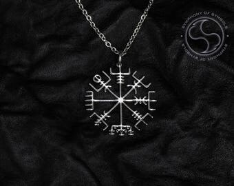 Vegvisir Pendant Viking Symbol Stainless Steel Jewelry Runic Viking Compass Necklace Keychain Logo Emblem Asatru Talisman Icelandic Sign
