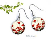 Boucles d'oreilles coquelicots ,Poppy earrings,crochets anti-allergie ref.N 371