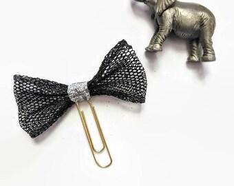 Black Glitter Tulle Bow Planner Clip