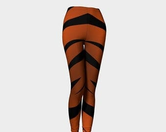 SALE -Holidays in August Funky Halloween leggings, Cat leggings, Tiger leggings, Orange and black stripe leggings