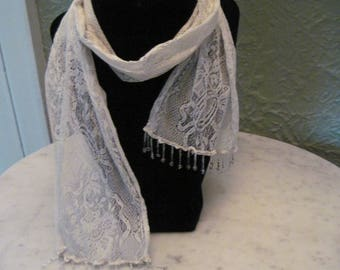 Vintage lace scarf, with glass beads