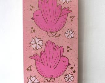 Wooden Block Painting - Sakura Birds