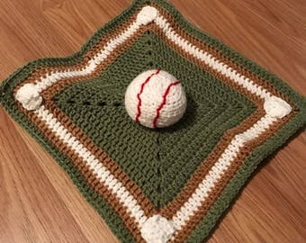 Baseball lovey/security blanket/ baby toy
