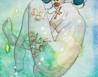 watercolour woman mermaid swimming illustration print signed
