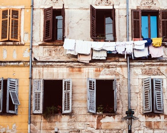 Rovinj , Croatia Travel Photography, Street Photography, Alley, Windows, Laundry, Fine Art Photo, Large Wall Art, Travel Photography