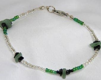 Aventurine Green and White Bracelet