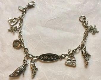 Shoe Lover's Charm Bracelet Steel Charms Adjustable Bracelet