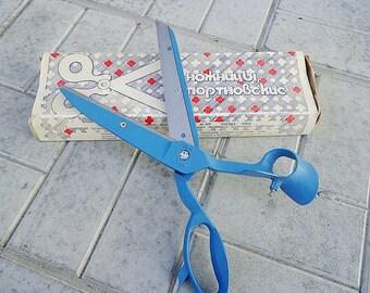 Sartorial vintage soviet cutter scissors // Big blue tailor clothier shears USSR