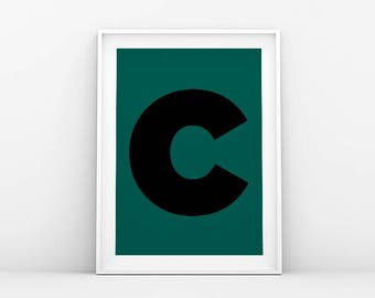 Letter C - Typography Print - Minimalistic Poster - Letter Art - Printable Wall Art - Nordic Print - Modern Home Print - Scandinavian Art