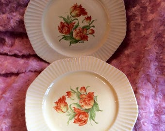 Set of four (4) Edwin Knowles vintage china plates, vitreous #44