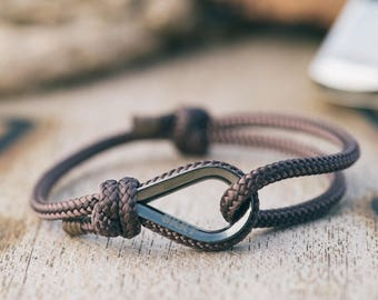 Handmade Customized Nautical sailing bracelet silver brown color | Personalized gold Men present Adjustable size Unisex