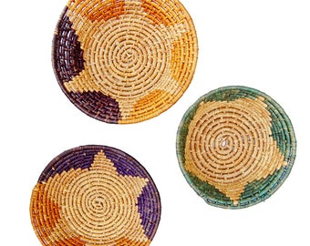 Collection of Woven Coil Mexican Baskets / Bowls | Trio of Wall Decor Baskets Boho Jungalow Decor