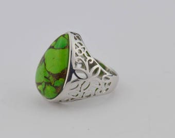 Sterling Silver 925 Estate Mark Silverstein Green Turquoise Open Work Ring Size 10.25