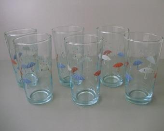Unused,Vintage drinking set,6 pcs glasses,umbrella pattern,in original box