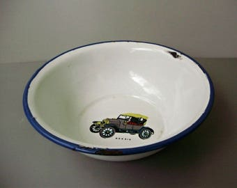 Vintage Hungarian enamel plate with car decor,signed