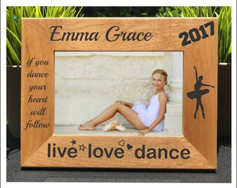 Ballet Dance // Personalized Engraved Photo Frame // Recital // Live Love Dance // Gift