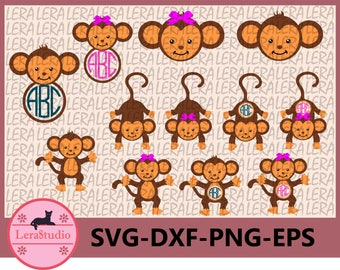 60 % OFF, Monkeys SVG, Girl Monkey Svg Cut Files, Monkeys Monogram Svg, dxf,ai,eps,png,Silhouette,Digital Cutting Files, Clipart Cut Files