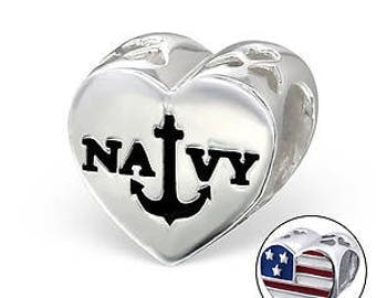 Navy Sterling Silver Anchor Pandora Charm