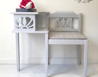 Telephone Bench, Gossip Bench, painted gray, entryway furniture, farmhouse decor, statement piece, chair, home decor, hand painted