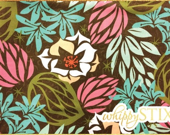 RARE! Modern Floral Fabric By the Yard, Brown Pink Blue Olive Desert Bloom by Jane Dixon Andover Fabrics 5238, BTY Flowers Quilting Fabric