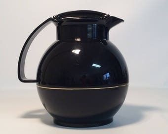 Vintage Black Thermos Coffee Carafe / Made in West Germany