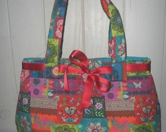 cotton patchwork style Tote handbag