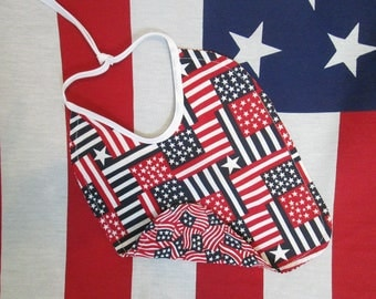 Patriotic Baby Bib Red White and Blue Flags/Stars and Stripes Patchwork