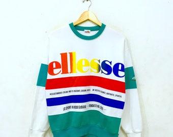 Rare!! ELLESSE Big Logo Allover Print Casual Sweatshirt Ellesse Perugia Italia Multicolour Pullover Jumper Small Size