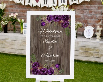 Rustic Welcome wedding Sign Template, Printable Wedding Reception Sign, #A044, INSTANT DOWNLOAD, Editable PDF