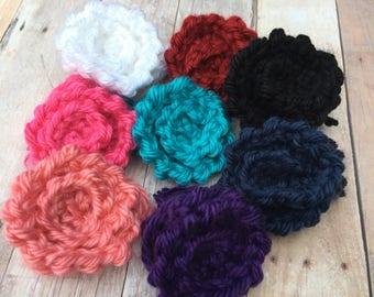 Knit Flower Applique, Crochet Flower Supply, Knit Flower Embellishments, Crochet Blossoms, Crochet Rose Applique, Crochet Floral Applique